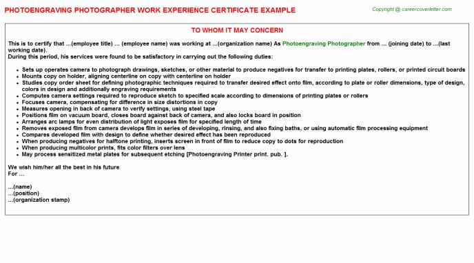 Photographer Job Description Sample Luxury Grapher Experience Letters