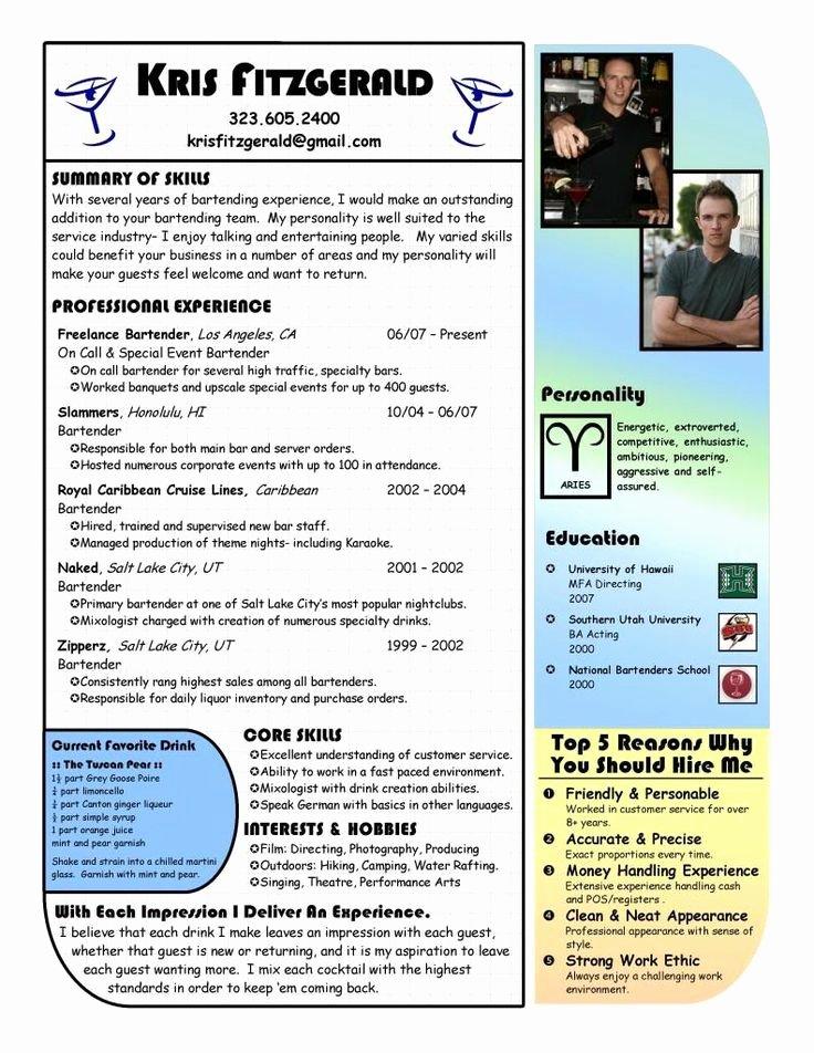 Photographer Job Description Sample New Bartender Resume Example Bartending Resume