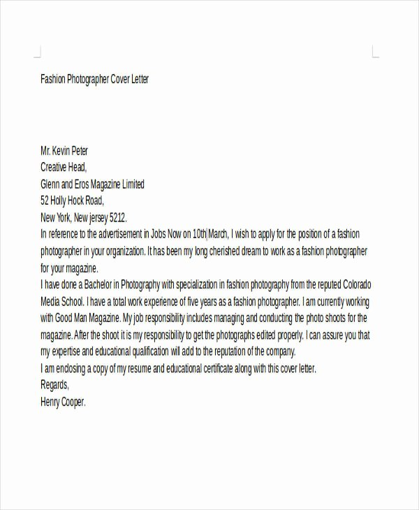 Photography Cover Letter Sample Fresh 8 Grapher Cover Letter Templates Free Sample