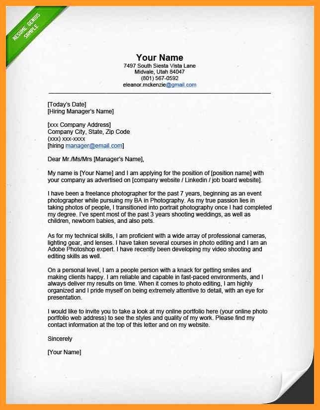 Photography Cover Letter Sample Inspirational Photographer Job Description Resume