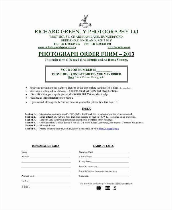 Photography order form Template Word New Sample Graphy order form 10 Examples In Word Pdf