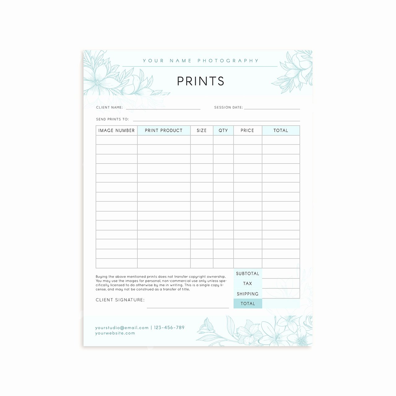 Photography order form Template Word Unique Floral Graphy Prints order form Strawberry Kit