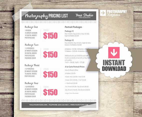 Photography Price List Template Free Beautiful Graphy Package Pricing Grapher by Studiotwentynine