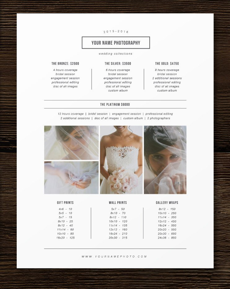 photography pricing template price list