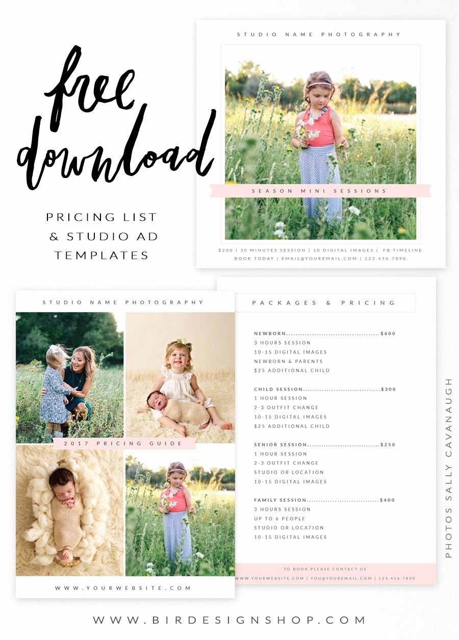 Photography Price List Template Free Best Of Free Pricing List & Studio Ad Templates