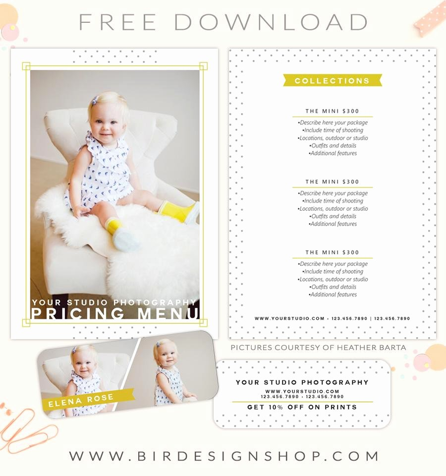 Photography Price List Template Free Best Of Free Pricing Menu Template