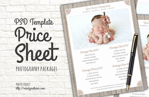 Photography Price List Template Free Elegant Graphy Packages Price List Psd Templates On