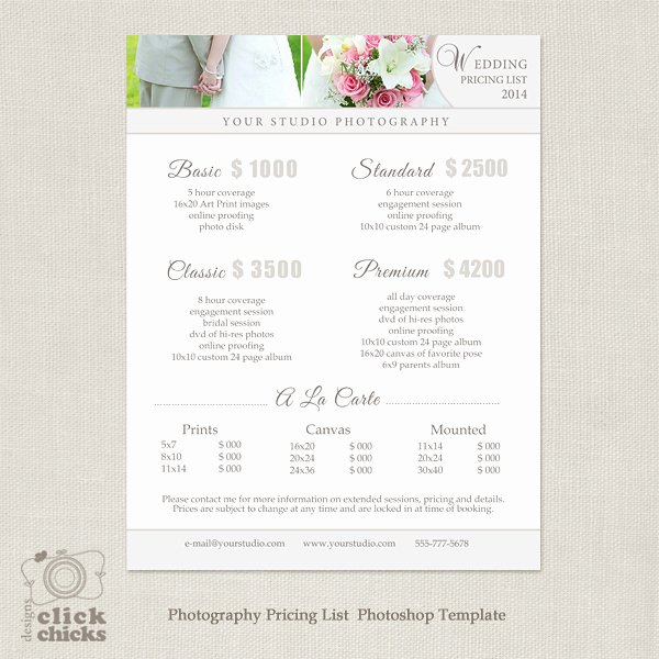 Photography Price List Template Free Fresh Wedding Graphy Pricing List Template 19