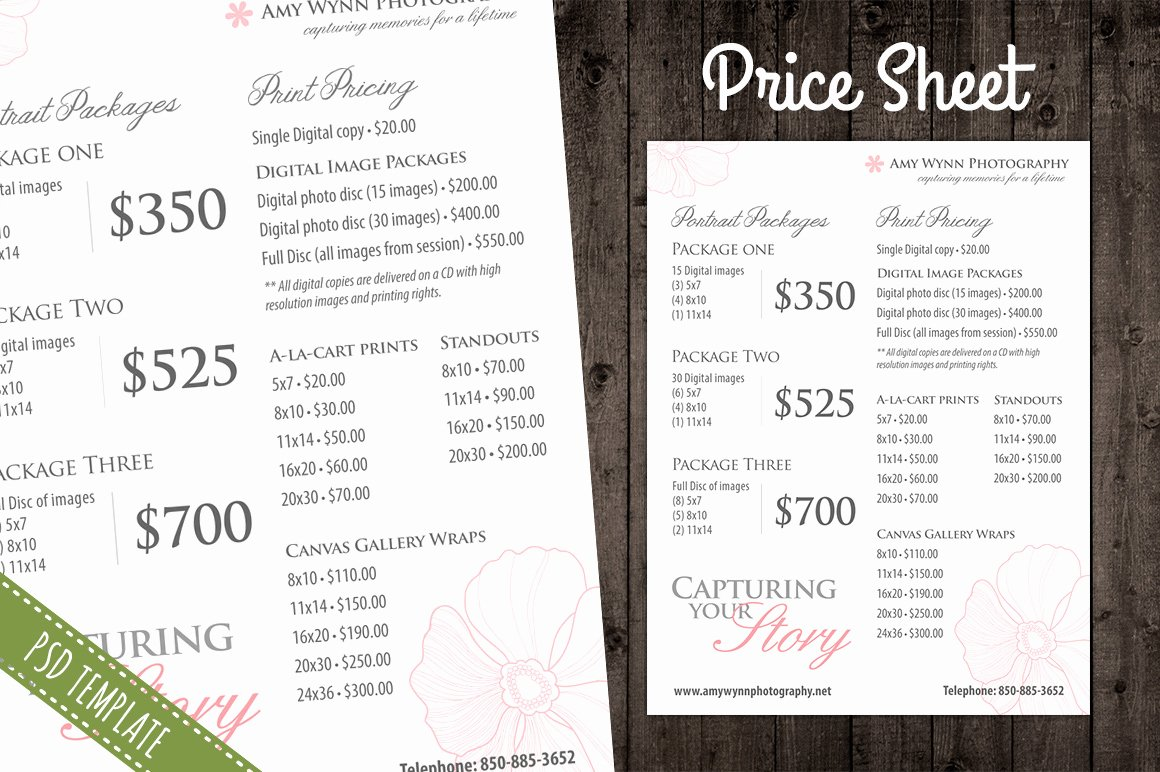 Photography Price List Template Free Inspirational Price List Template Pricing Sheet Flyer Templates On