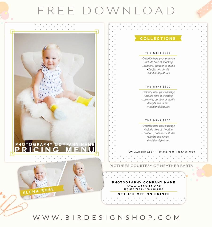 Photography Price List Template Free Lovely Free Pricing Menu Template – Birdesign