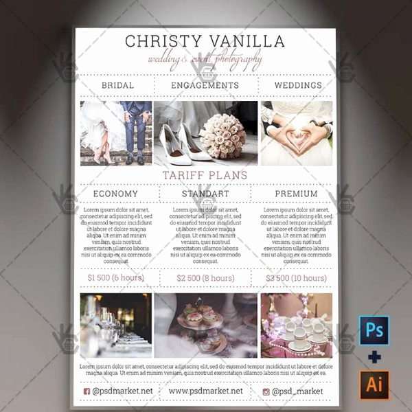 Photography Price List Template Free Luxury Wedding Grapher Pricelist Free A4 Flyer Psd Ai Template
