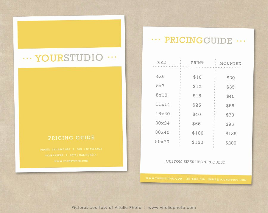 Photography Price List Template Free Unique Graphy Pricing Guide Template Price List Shop