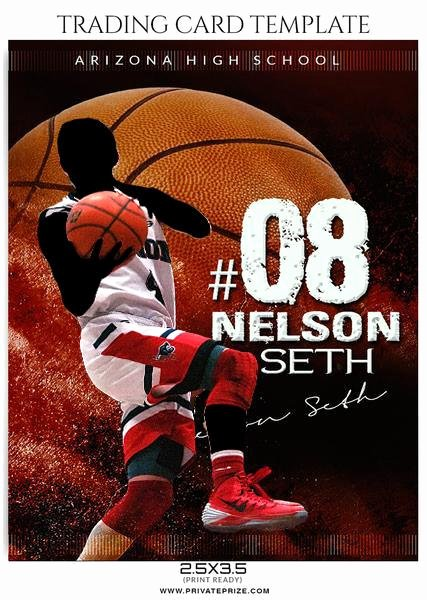 Photoshop Baseball Card Templates Awesome Nelson Seth Basketball Sports Trading Card Shop Template