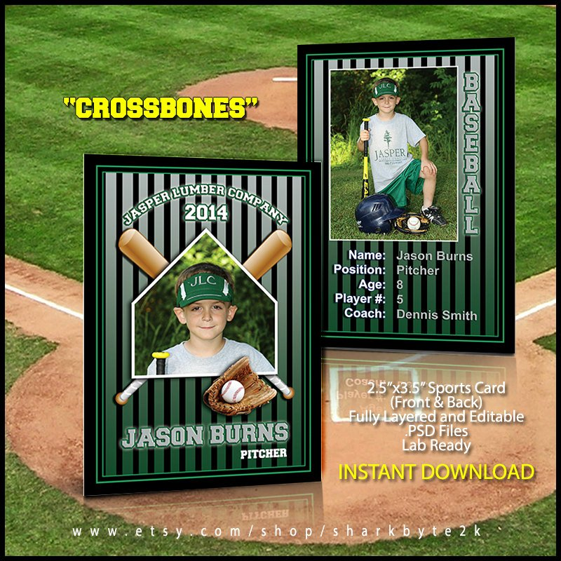 Photoshop Baseball Card Templates Beautiful 2017 Baseball Sports Trader Card Template for Shop