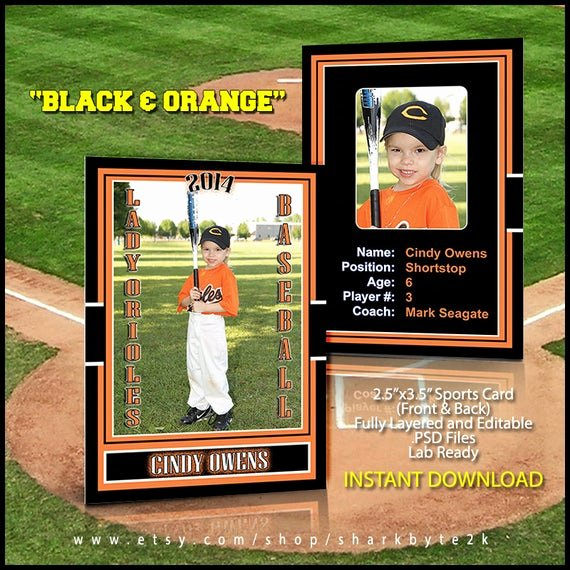 Photoshop Baseball Card Templates Elegant 2017 Baseball Sports Trader Card Template for Shop Black