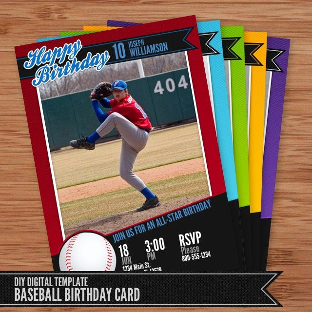 Photoshop Baseball Card Templates Elegant Baseball Card Birthday Invitation 5x7 Shop Template for