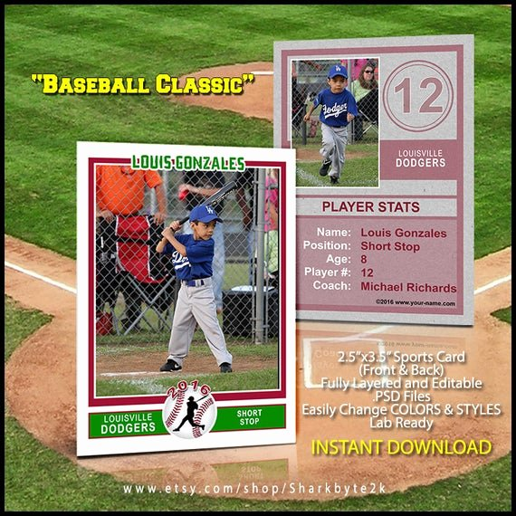 Photoshop Baseball Card Templates Elegant Baseball Sports Trader Card Template for Shop