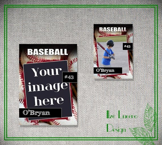 Photoshop Baseball Card Templates Lovely Psd Baseball Trading Card Template by Ilzesdesigns On Etsy