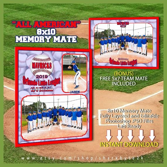 Photoshop Baseball Card Templates Luxury Baseball Memory Mate Template for Shop All by