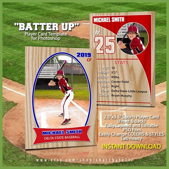 Photoshop Baseball Card Templates Luxury Baseball Sports Trader Card Template for Shop Batter Up