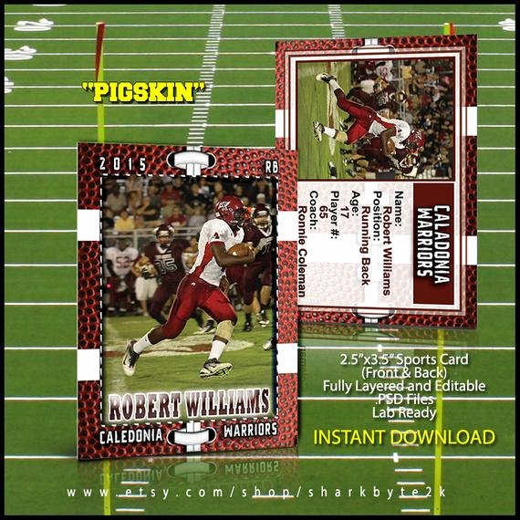 Photoshop Baseball Card Templates New Football Sports Trader Card Template for Shop by