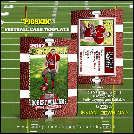 Photoshop Baseball Card Templates New Shop Football Card Template Great for Sports Team