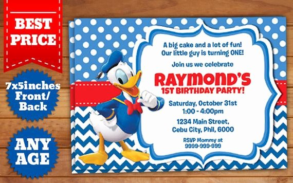 Photoshop Birthday Invitation Template Beautiful This Instant Downloadable is for A Donald Duck Birthday
