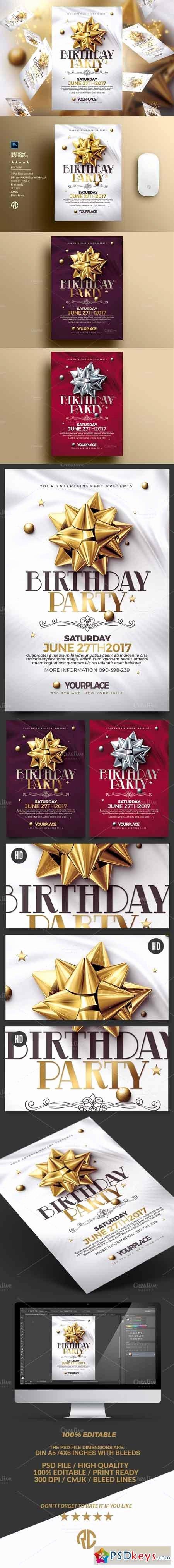 Photoshop Birthday Invitation Template Best Of Birthday Invitation 3 Psd Template Free Download