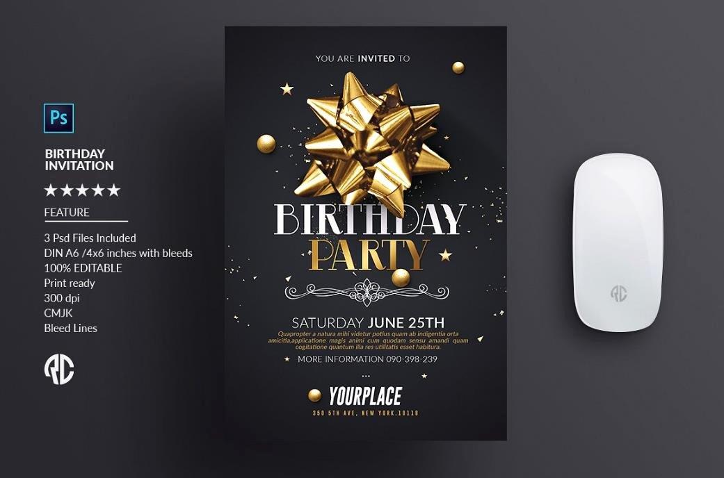 Photoshop Birthday Invitation Template Elegant Shop Birthday Invitation Template — Birthday
