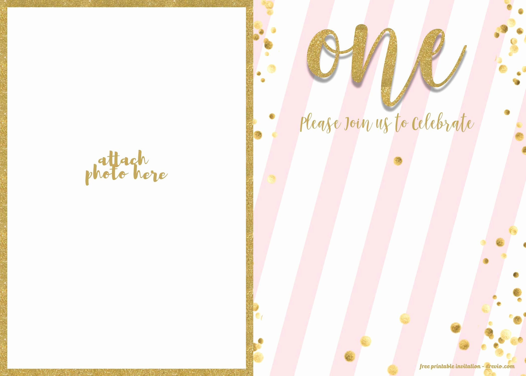 free 1st birthday invitation pink and gold glitter template