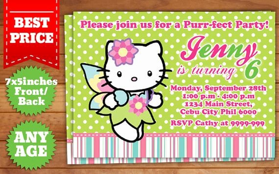 Photoshop Birthday Invitation Template New This Instant Downloadable is for A Hello Kitty Birthday