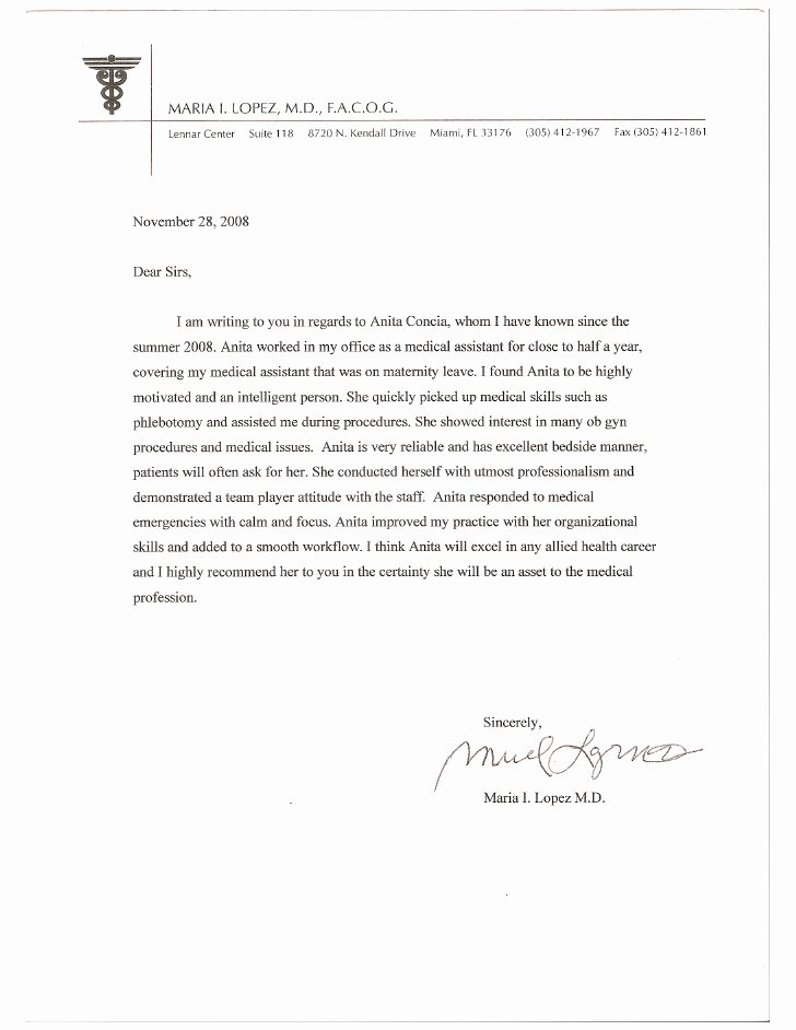 Physician assistant Recommendation Letter Beautiful Letter Of Re Mendation From Dr Lopez