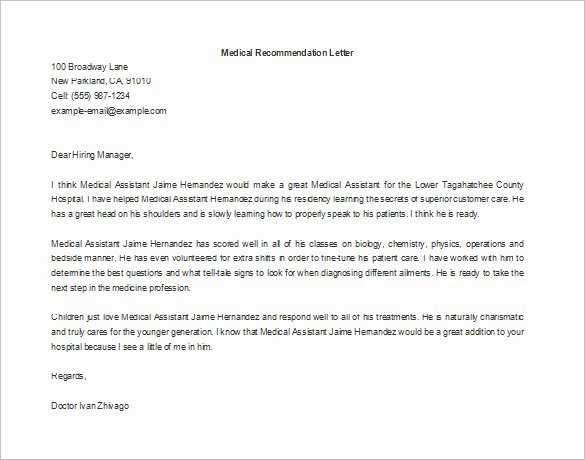 Physician assistant Recommendation Letter Best Of 11 Re Mendation Letters for Employment – Free Sample