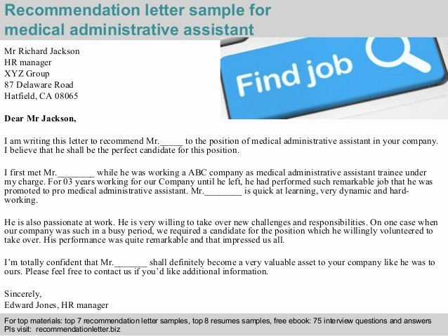 Physician assistant Recommendation Letter Best Of Medical Administrative assistant Re Mendation Letter