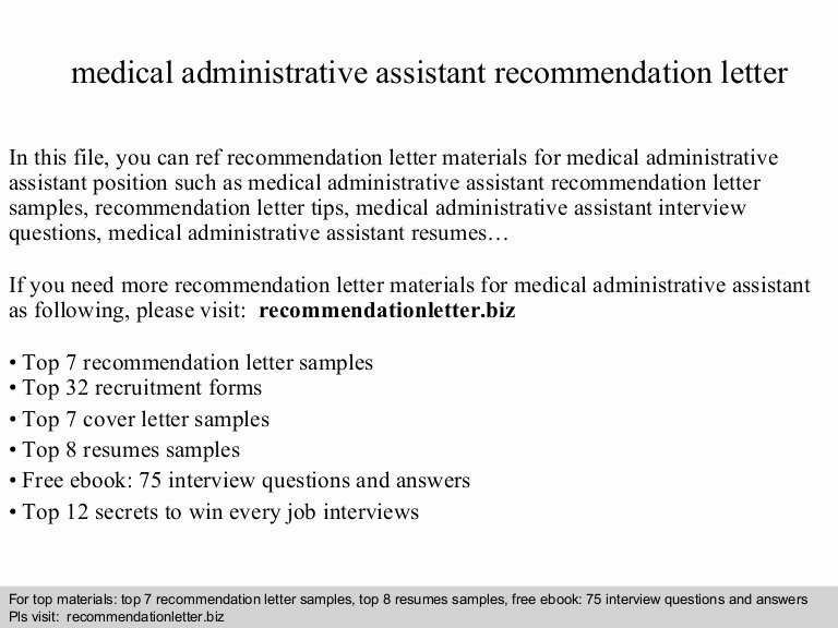 Physician assistant Recommendation Letter Elegant Medical Administrative assistant Re Mendation Letter