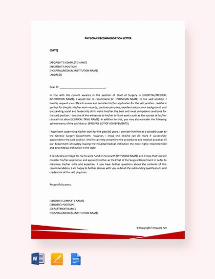Physician assistant Recommendation Letter Inspirational 8 Sample Physician Re Mendation Letters Doc Pdf