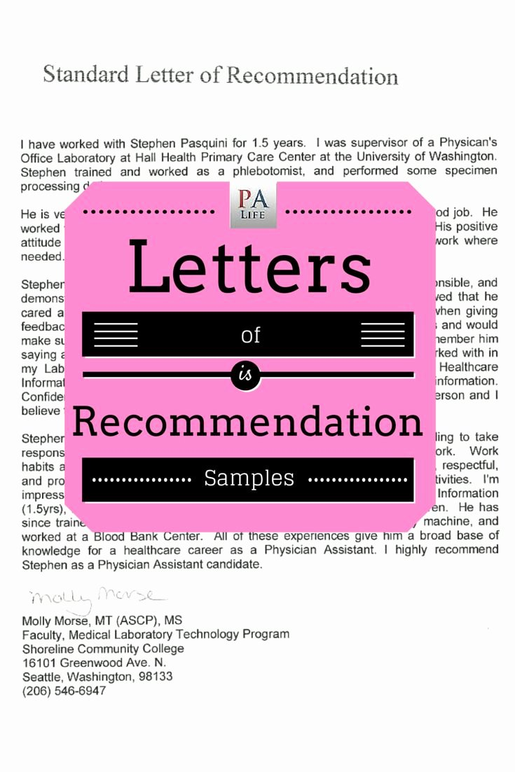 Physician assistant Recommendation Letter New Physician assistant Letters Of Re Mendation Samples