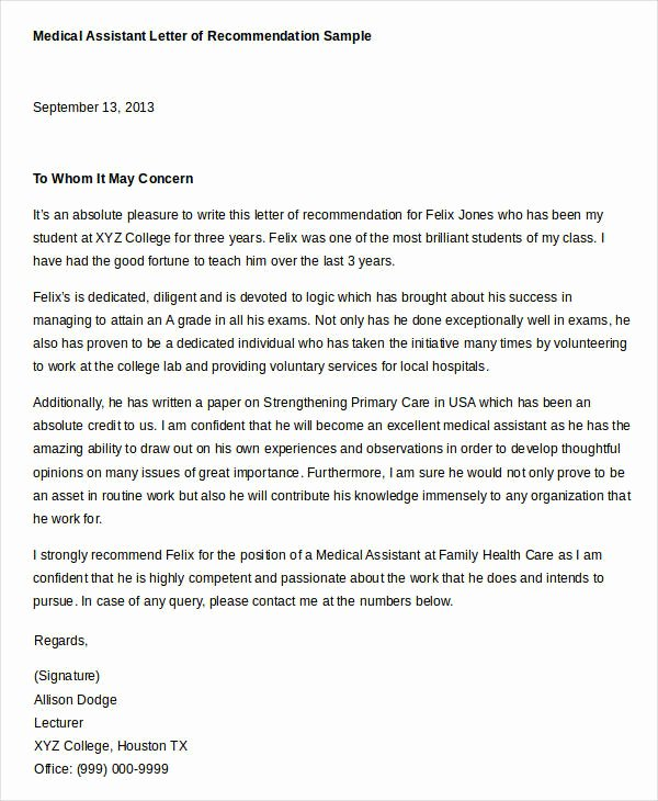 Physician assistant Recommendation Letter New Reference Letter Example 33 Free Word Pdf Documents