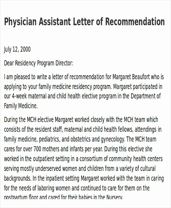 Physician assistant Recommendation Letter Unique 9 Sample Physician Letter Of Re Mendation Word Pdf