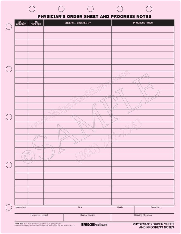 Physician Progress Note Template Beautiful Physicians order Sheet and Progress Notes form