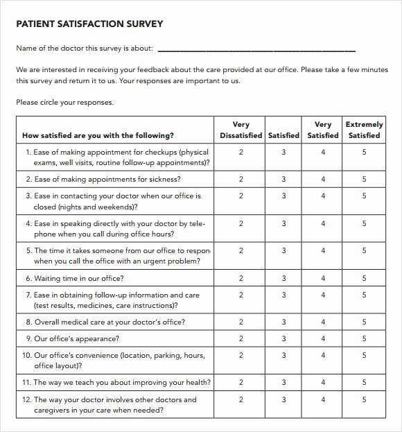 Physician Satisfaction Survey Questions Lovely Patient Satisfaction Survey 9 Download Free Documents