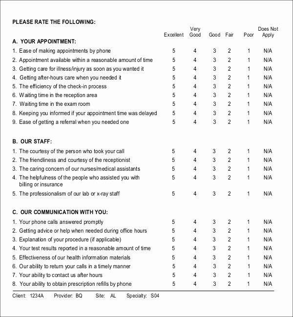 Physician Satisfaction Survey Questions New 14 Patient Survey Templates – Pdf Word