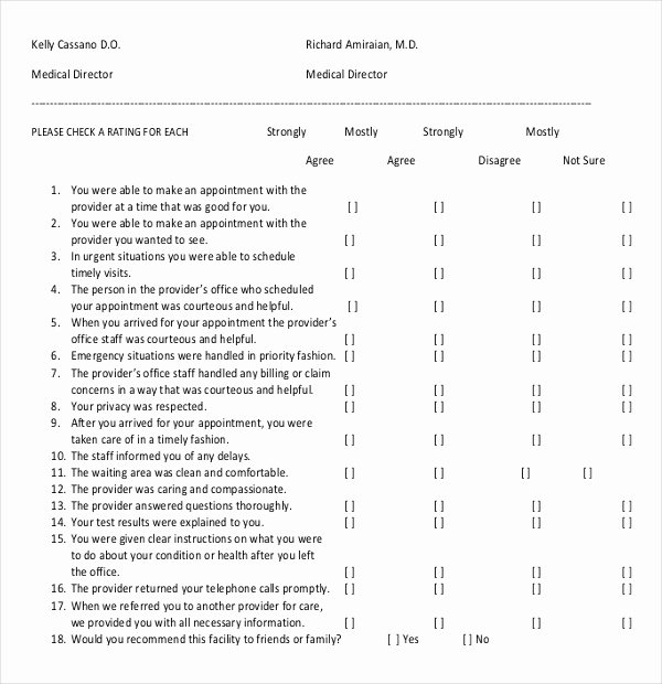 Physician Satisfaction Survey Questions New 14 Patient Survey Templates – Pdf Word