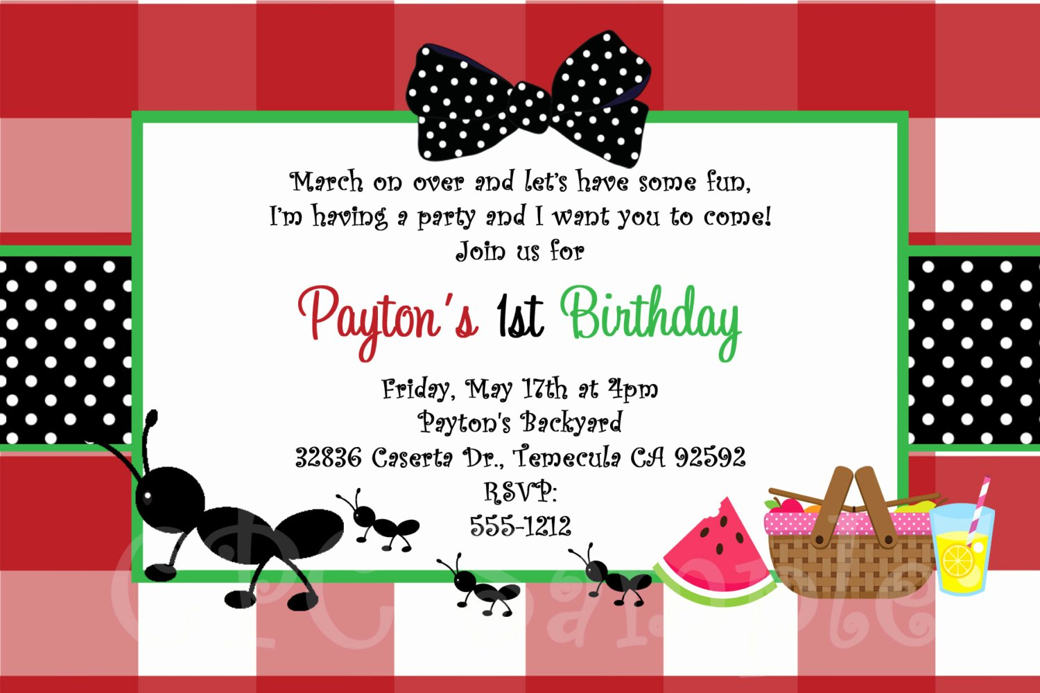 Picnic Birthday Party Invitations Awesome Ants On A Picnic Birthday Invitation Printable or Printed