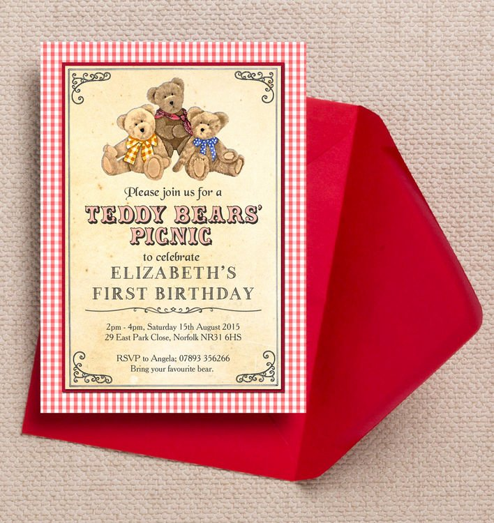 Picnic Birthday Party Invitations Awesome Teddy Bears Picnic Kids Party Invitation