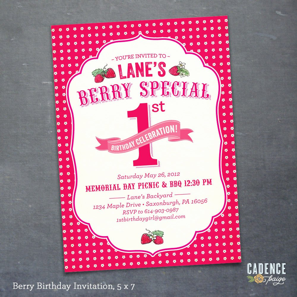 Picnic Birthday Party Invitations Elegant 1st Birthday Party Invitation Berry Birthday Birthday Picnic