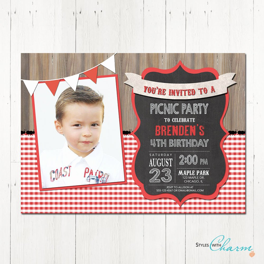 Picnic Birthday Party Invitations Elegant Picnic Party Invitation Picnic Birthday Invitation Bbq Party