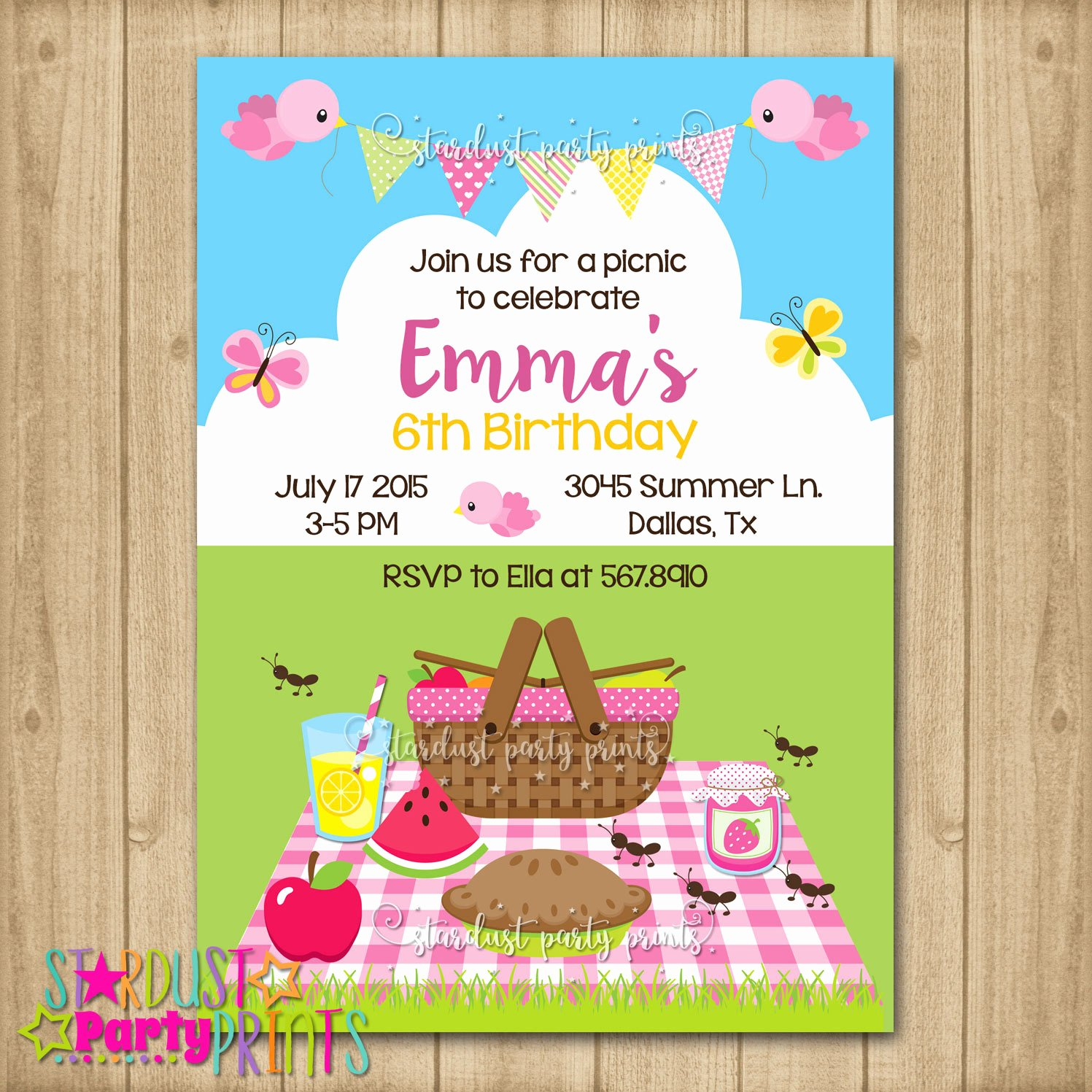 Picnic Birthday Party Invitations Unique Picnic Birthday Invitation Picninc Birthday Picnic