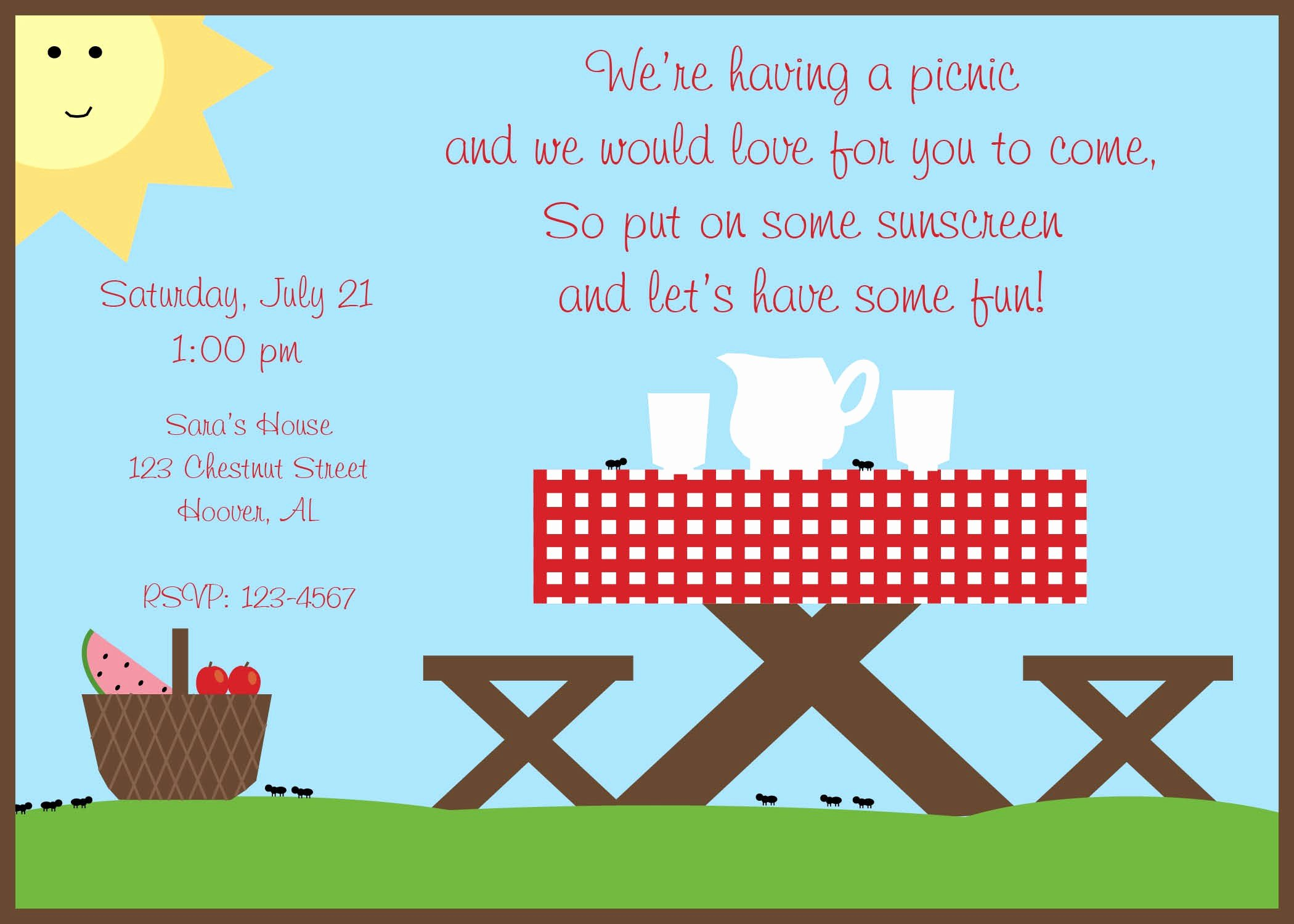 Picnic Birthday Party Invitations Unique Summer Picnic Invitation Summer Party by Lilypadboutiquestore