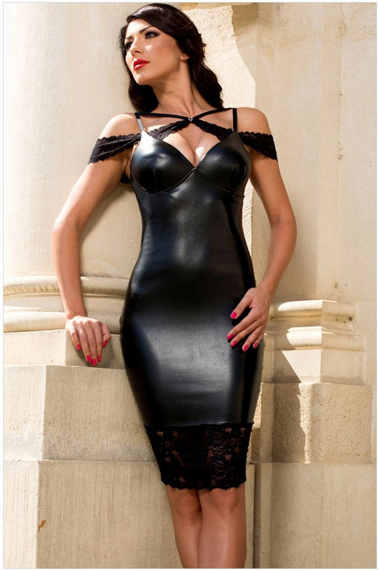 Pics Of Sexy Women New Hot Y Faux Leather Lace Cut Out Bodycon Sheath Dress